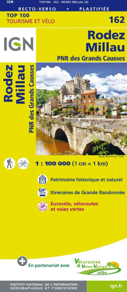 IGN 162 - Rodez, Millau PNR des Grands Causses